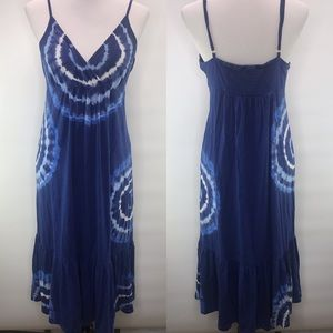 Michael Kors Blue Tie Dye Cotton Rayon Sun Dress L